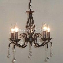 Европейский лампа черный кованого железа свеча люстра светильники рестораны спальня садово-паркового искусства специальное предложение shippi