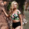 Kmnovo Brand 2017 Bikinis Women Biquinis Striped Top Floral Bottom Swimsuit High Waist Bikini Brazilian Bikini