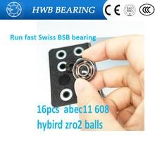 2017 New 16pcs/lot Swiss BSB 608 zz 8X22X7mm ABEC-11 bearing zro2 Balls Skateboard well Bearing Skating hand Spinner 8*22*7mm