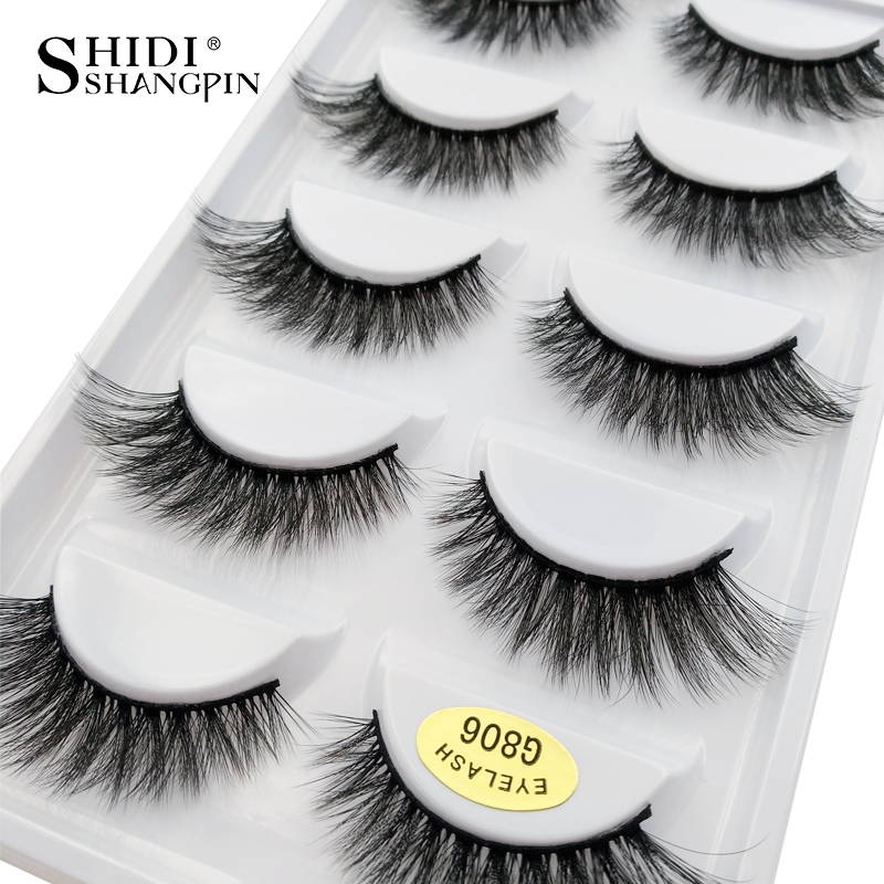 710abc30261 5 pairs 100% Real Fake Mink Eyelashes 3D Natural False Eyelashes 3d Mink  Lashes Soft Eyelash Extension Makeup Kit Cilios G806