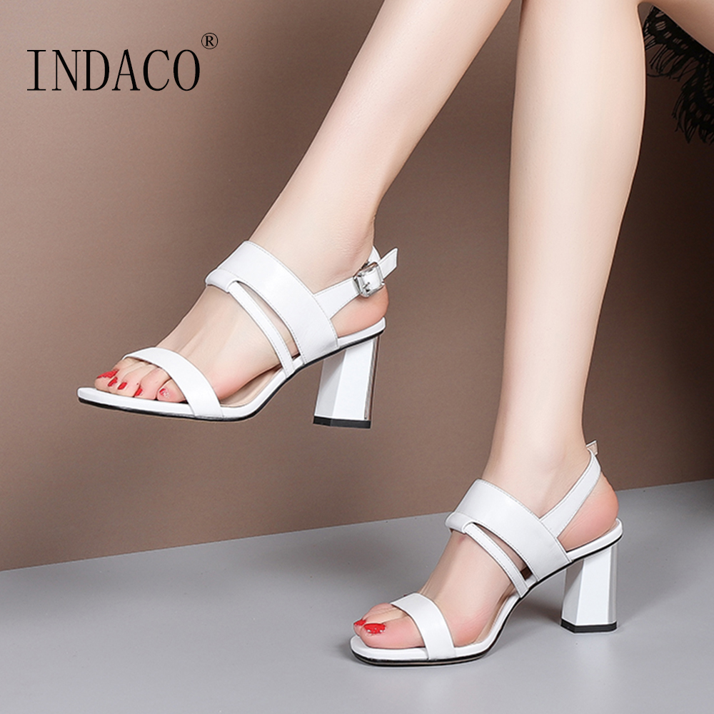 Sandals Women Summer Shoes Women Sandals Summer Footwear Genuine Leather Open Toe Thick Heel Shoes in High Heels from Shoes
