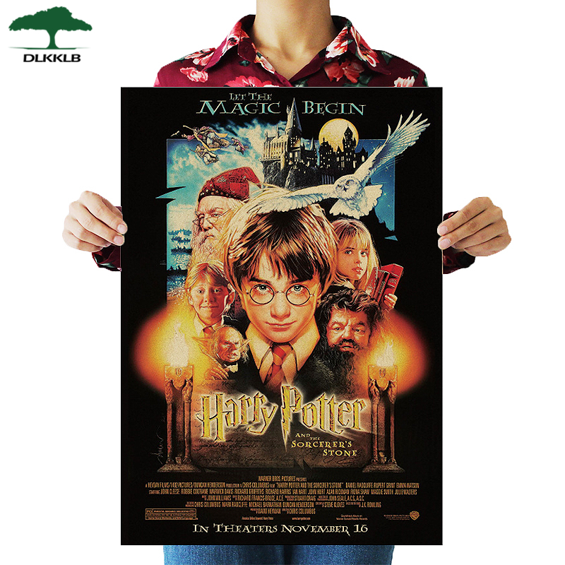 DLKKLB Harry Potter Part 2 Magic Stone Poster Series Retro Kraft Paper Antique Poster Wall Sticker Cafe Home Decor 51.5X36cm