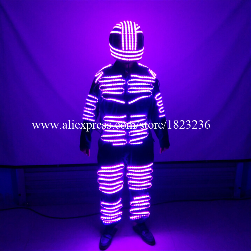 Colorat cu LED-uri luminoase pentru bărbați Robot Suit cu casca cu - Produse pentru sărbători și petreceri