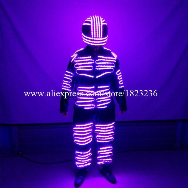 Colorful LED Luminous Men Robot Suit With LED Helmet Illuminated Clothing Growing Light Dance Clothes Ballroom Costume