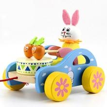 Kayu Kelinci Putih Tarik Keranjang Mainan Bayi Tarik Walkers Bayi Mainan Mobil Mainan Pendidikan Mainan Untuk Anak Laki-laki