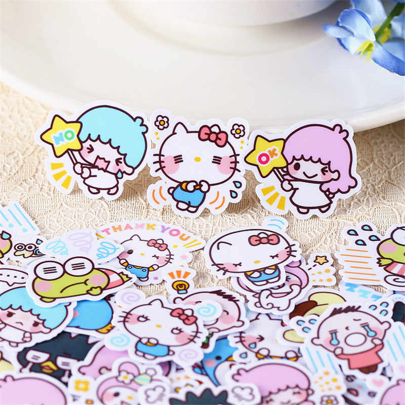 40 PCS Anime diverse double star mini Paper Stickers Crafts And Scrapbooking stickers book Decorative sticker DIY Stationery