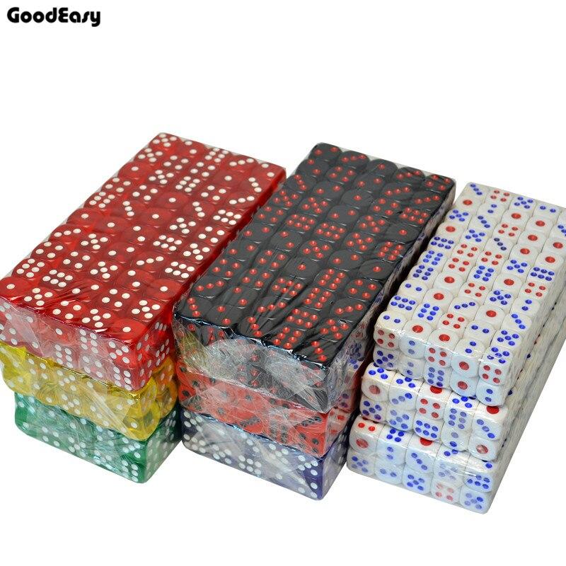 20PCS/SET 8 Colors Casino Dice Set 16mm Acrylic/Plastic Digital Dice Drinking Dice Gambling Translucent Dice 6 Sides Poker Dice