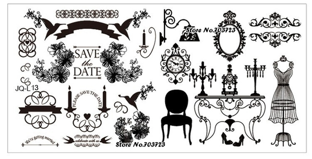The new JQL series is designed stamping plate Manicure Nail Image Stamp long template Sexy evening dress JL13
