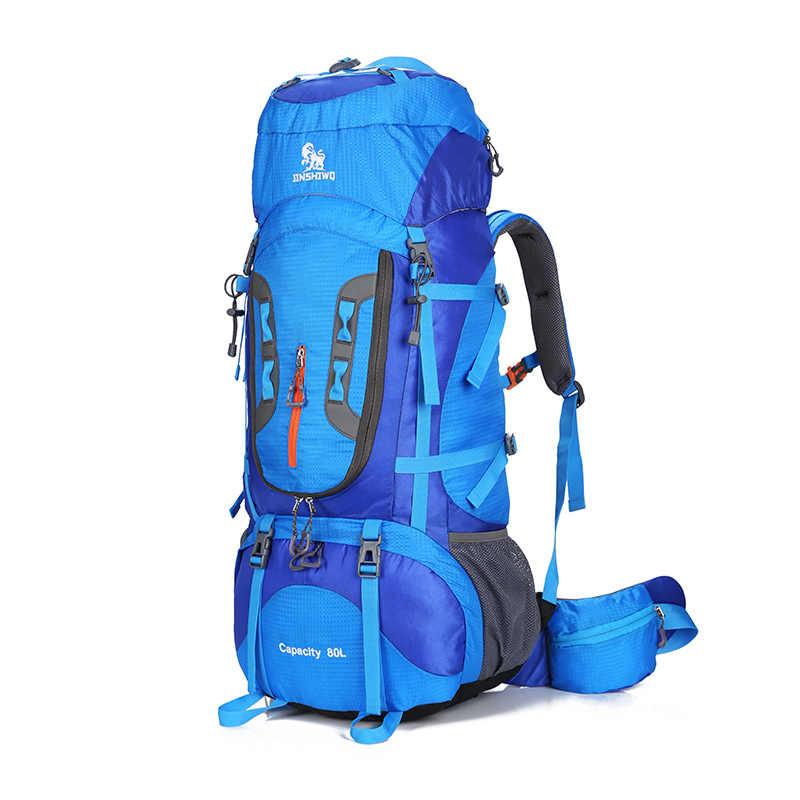 80L Luar Ruang Kapasitas Besar Ransel Camping Perjalanan Tas Profesional Ransel Hiking Ransel Tas Olahraga Pendakian Paket 1.45Kg