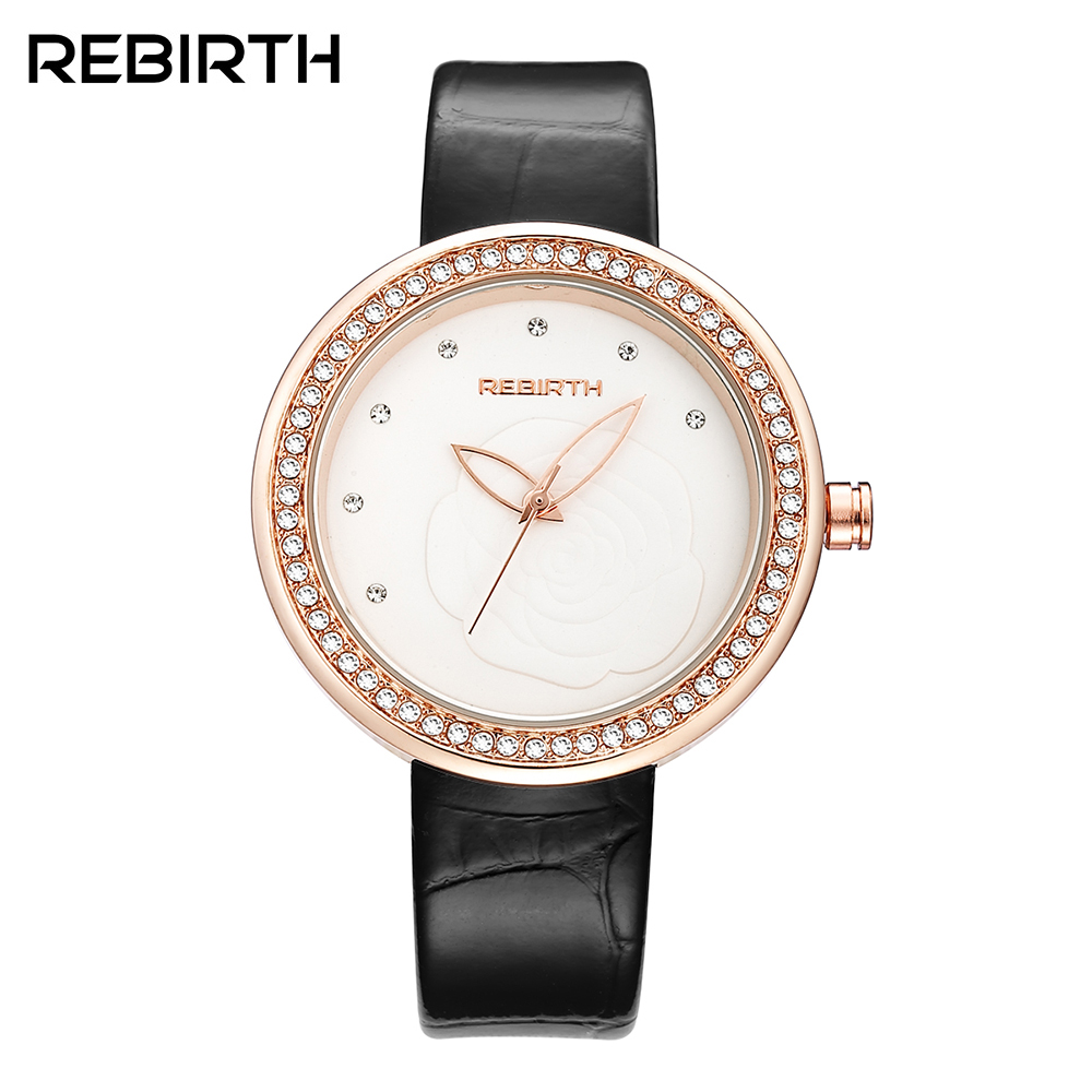 REBIRTH Rhine stone Women Watches Luxury Brand Quartz Watch Casual Ladies Watches Women Clock Montre Femme Relogio feminino sinobi ceramic watch women watches luxury women s watches week date ladies watch clock montre femme relogio feminino reloj mujer