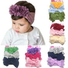 купить 3Pcs/Set Cute Baby Girl Beautiful Headband Newborn Nylon Hair Bow Lace Flower Solid Color Headwear Toddler Kids Elastic Hairband онлайн