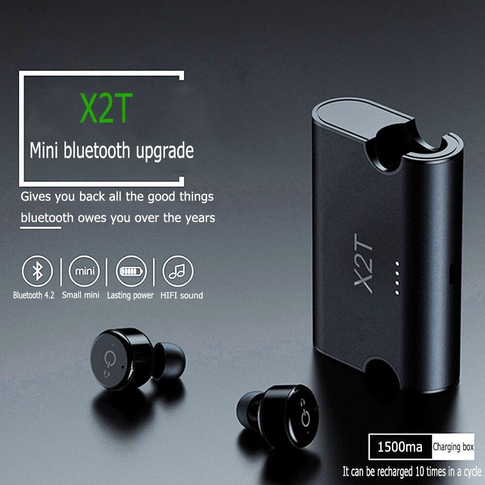 X2T мини Беспроводной Bluetooth 4,2 наушники стерео наушники Шум шумоподавления наушники-вкладыши динамик наушники, 1500 mAh зарядки коробка