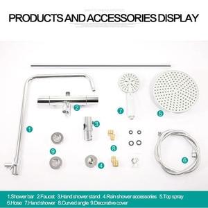 Image 5 - MICOE shower set thermostatic shower mixer Chrome faucet body copper casting faucet 5 mode nozzle