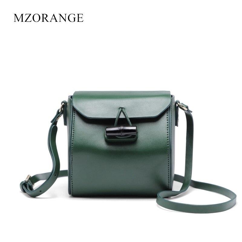 MZORANGE Genuine Leather Women Handbag Simple Flap Fashion Lock Hexagonal Prism Women Shoulder Bags Cowhide Small Crossbody bag