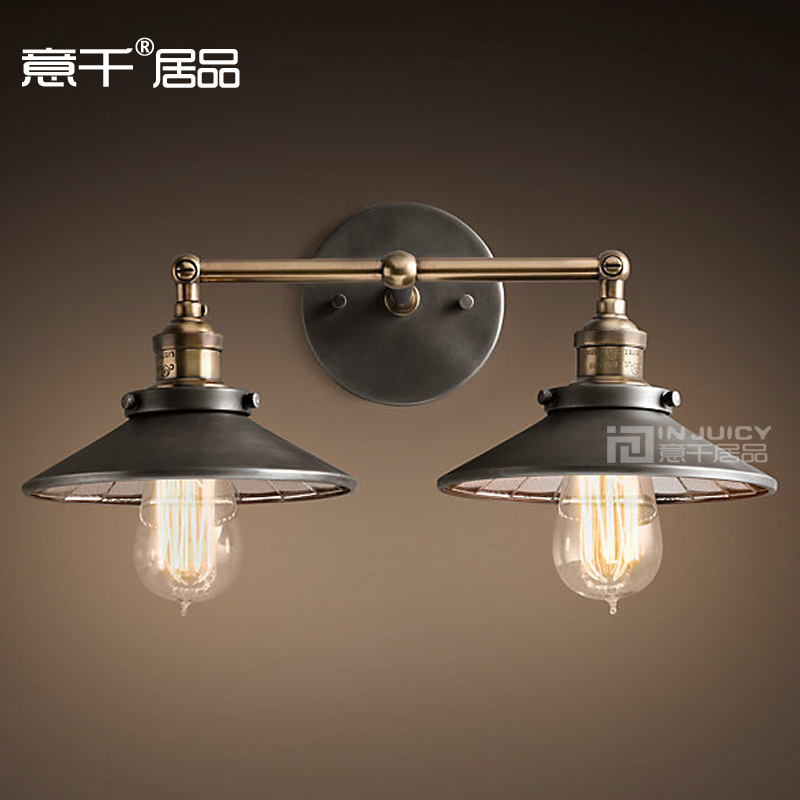 RH Loft Industrial Wall Lamp Double Heads Pendant Light Edison Bulb 22CM mirror Lighting Cafe Bar Coffee Shop Hall Store Club 32cm vintage iron pendant light metal edison 3 light lighting fixture droplight cafe bar coffee shop hall store club