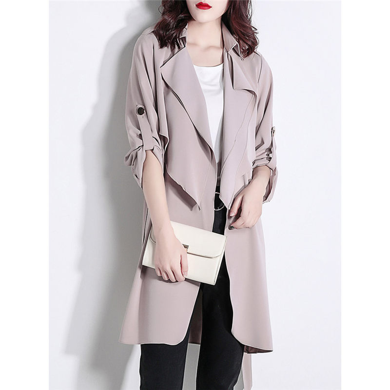 Casual Chiffon Loose Women Spring   Trench   Coat 2019 Roll-up Sleeve Windbreaker Long Summer jaqueta feminina Thin Drape Coat f480