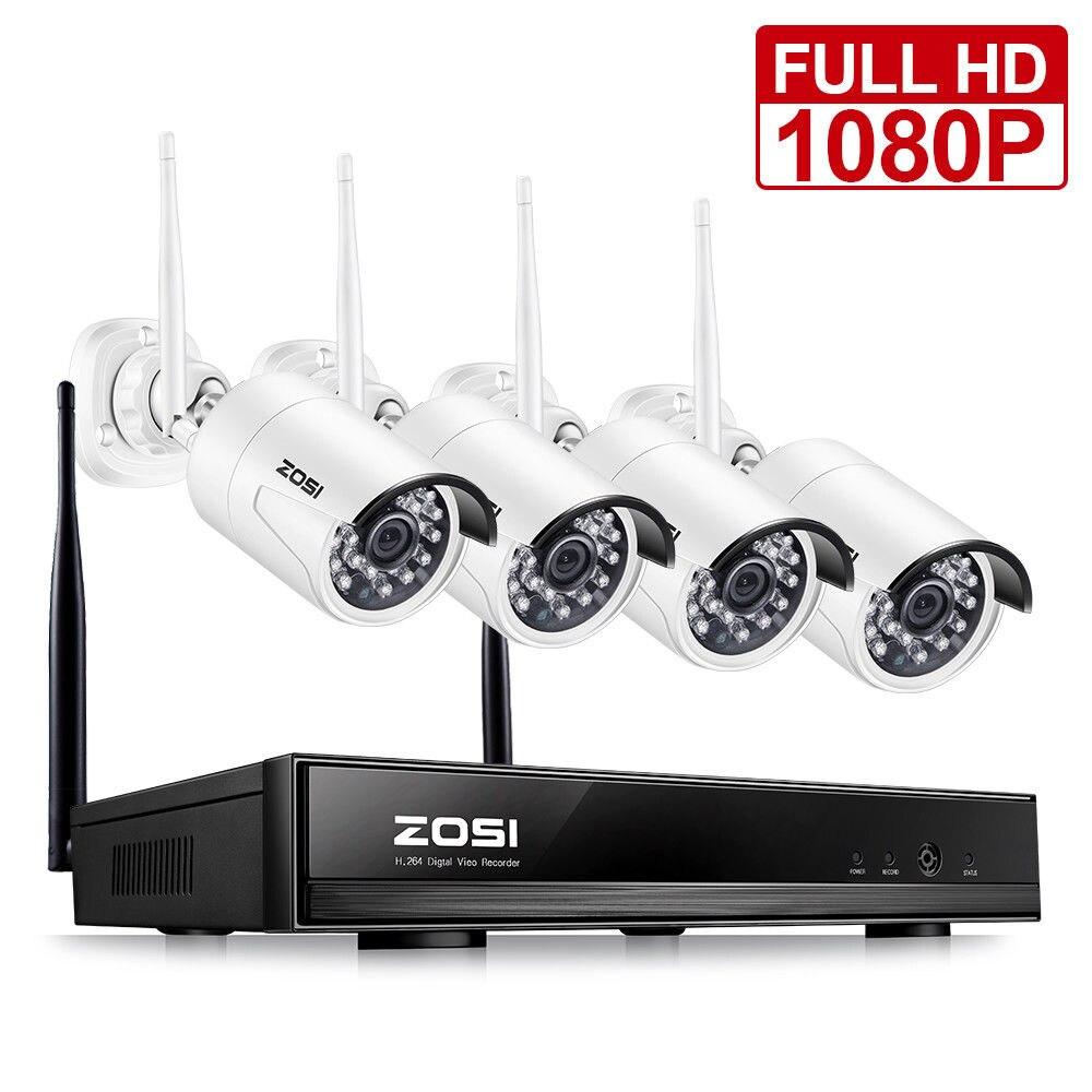 ZOSI 4CH 1080P HDMI Wi Fi NVR 2.0MP безопасности камера системы ИК Открытый водостойкий CCTV беспроводной системы скрытого видеонаблюдения
