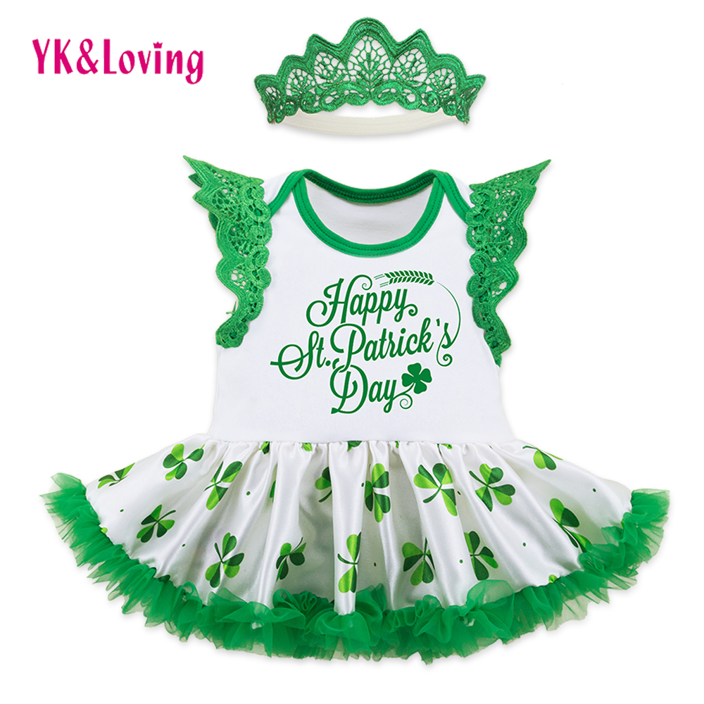 Saint Patricks Day Girls Sleeveless Romper Dress Lace Ruffle Style Crown headband Baby Girl Clothing Boutique St Patrick Day