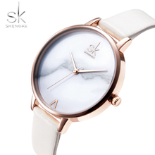 цена Shengke Ultra-thin Dial Ladies Watch Top Brand Fashion White Leather Female Quartz Wrist Watch Women Casual Watch Marble Dial онлайн в 2017 году