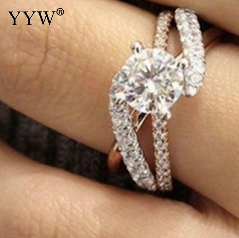 Yyw 2018 New Brass Cubic Zirconia Woman S Wedding Rings Luxury