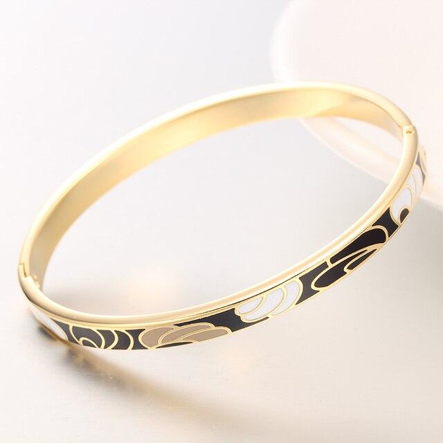 R X Jewelry Bijoux Femme Detalles Boda Women Fine Regalos Esmaltes Stainless Steel Bangle Bracelet Enamel Bangles