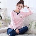 Alta qualidade mulheres nova primavera outono da longo-luva dos desenhos animados 100% algodão roupa em casa de pijama rosa conjuntos de pijama mulheres