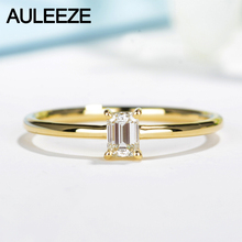 AULEEZE Solitaire Natural Diamond Engagement Ring Solid 18K Yellow Gold Jewelry 0.18CT Emerald Cut Real Diamond Rings For Women