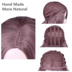 """Image 5 - FAVE ארוך גלי צד חלק בנגס מעורב אפור סגול חום סיבים עמידים 18 """"אינץ סינטטי פאות לאפריקני אמריקאי נשים של פאות"""