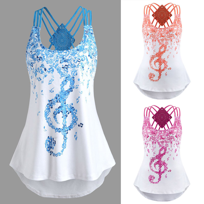 Ladies' Bandages Sleeveless Vest Top Musical Notes Print Strappy Tank Tops