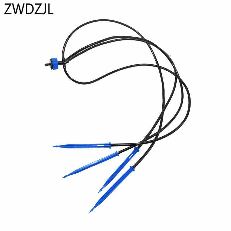 """4L 8L nawadniania kropelkowego z kroplomierzem 4-way strzałka emiter/linia kroplujaca 1/8 """"mikrosystem irygacyjny kropla wody ogród 1 zestaw"""