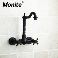 Wall Mounted Oil Rubbed Black Bronze Bathroom Faucet Bathtub Torneira Basin Sink Faucet Hot And Cold
