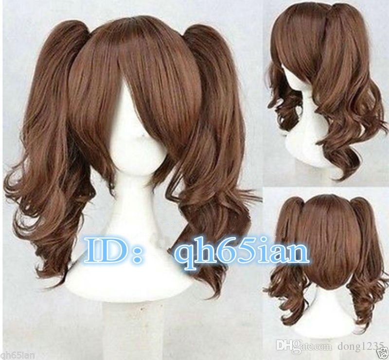 Free shipping New High Quality Fashion Picture Indian Mongolian wig>>> Pop Lolita Medium Long Brown Two Ponytail Cosplay Wigs 45cm long curly sweet lolita ponytail extension hairpiece wig dark brown