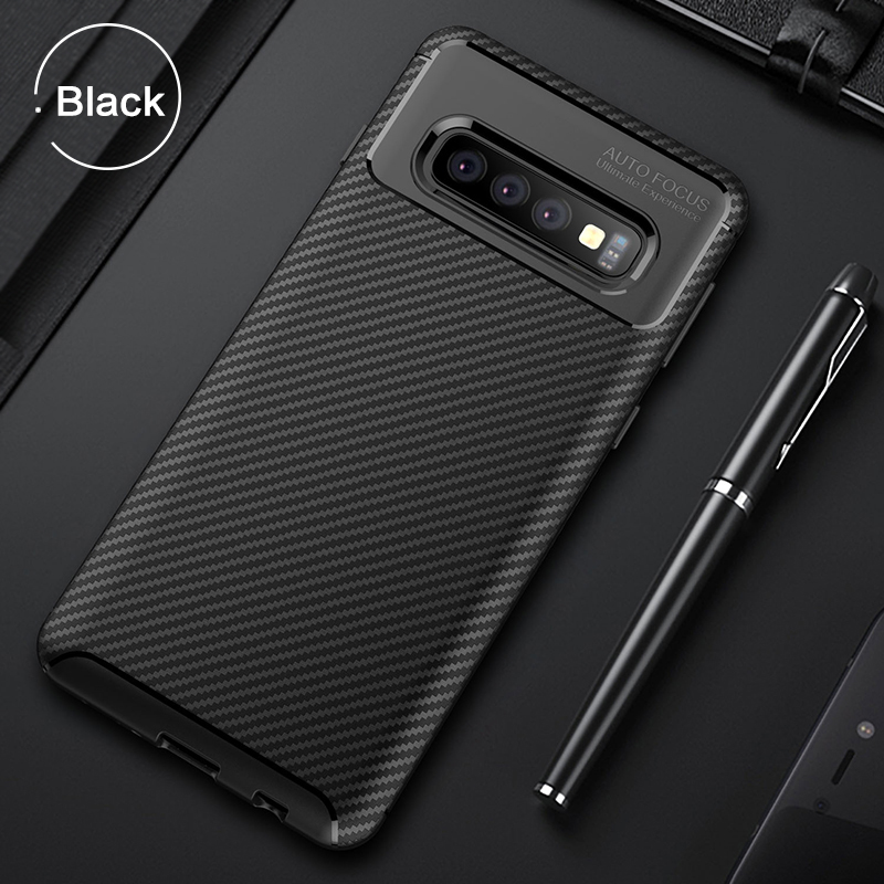 For Samsung Galaxy S10 Plus Case Soft Silicon Back Cover Carbon Fiber TPU Shockproof Case For Galaxy S10 5G S10e Phone  Cases