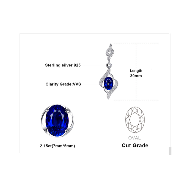 JewelryPalace Delicate Created Sapphire Drop Earrings Dangle For Women Pure Solid 925 Sterling Silver Fashion Charm Jewelry