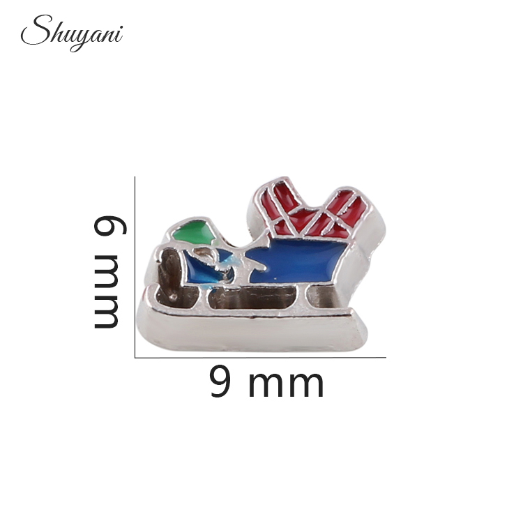Hot Sale 20pcs! Home & Garden Wholesale Alloy Metal Santa Sleigh Charms Enamel Christmas Floating Locket Charms For Glass Locket