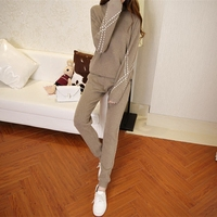 2018 Europe cashmere turtleneck sweater knitted cashmere turtleneck casual fashion suit pants thickened two piece female tide