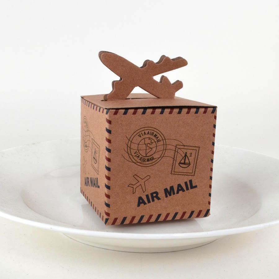 50pcs Vintage Air Mail Plane Design Kraft Gift Box Rustic Paper Gift Bag Wedding Favor Box for Wedding Party Baby Shower Decor