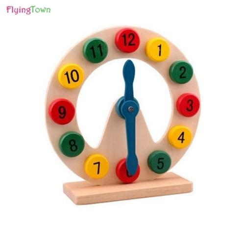 Montessori Matemática Brinquedos De Madeira Colorido Enigma Geometria Digital Clock Relógio De Madeira Educacional Toy Crianças Crianças Brinquedos Do Bebê Presentes