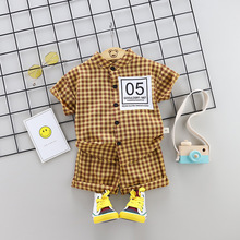 Striped Baby Boy Clothes Summer Newborn Baby Boy Clothes Set 2pcs Cotton Baby Girl Clothing Suit Shirt+Pants Infant Clothes Set cheap Children Sets Boys Single Breasted Active ExactlyFZ REGULAR Short Plaid Fits true to size take your normal size V-Neck