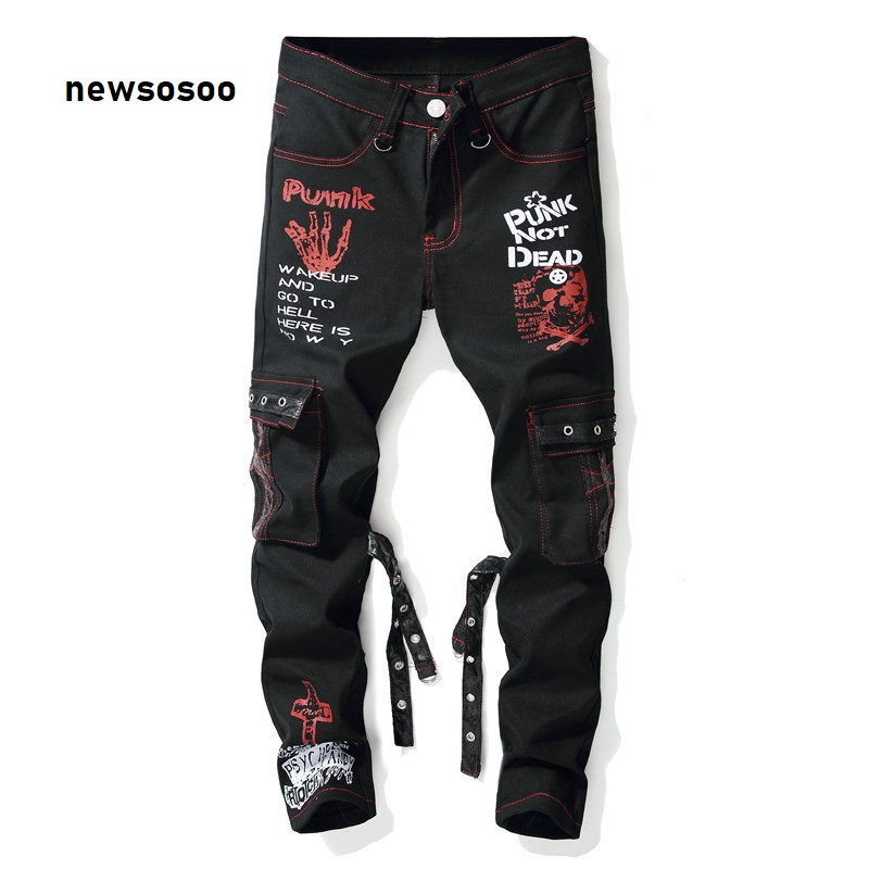 Men Denim Jeans New Fashion Printed Jeans Pants Ripped Jeans Multi Pockets Male Straight Slim Punk Hip Hop Pants Painted Jeans