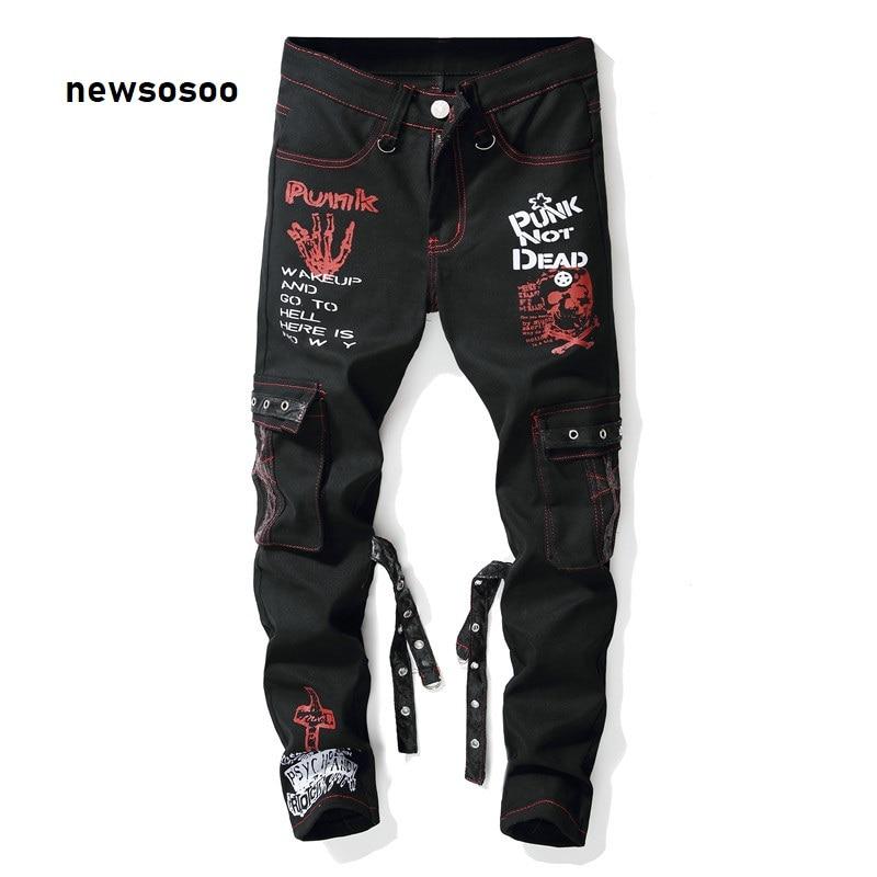 Men Denim Jeans New Fashion Printed Jeans Pants Ripped Jeans Multi Pockets Male Straight Slim Punk Hip Hop Pants Painted Jeans