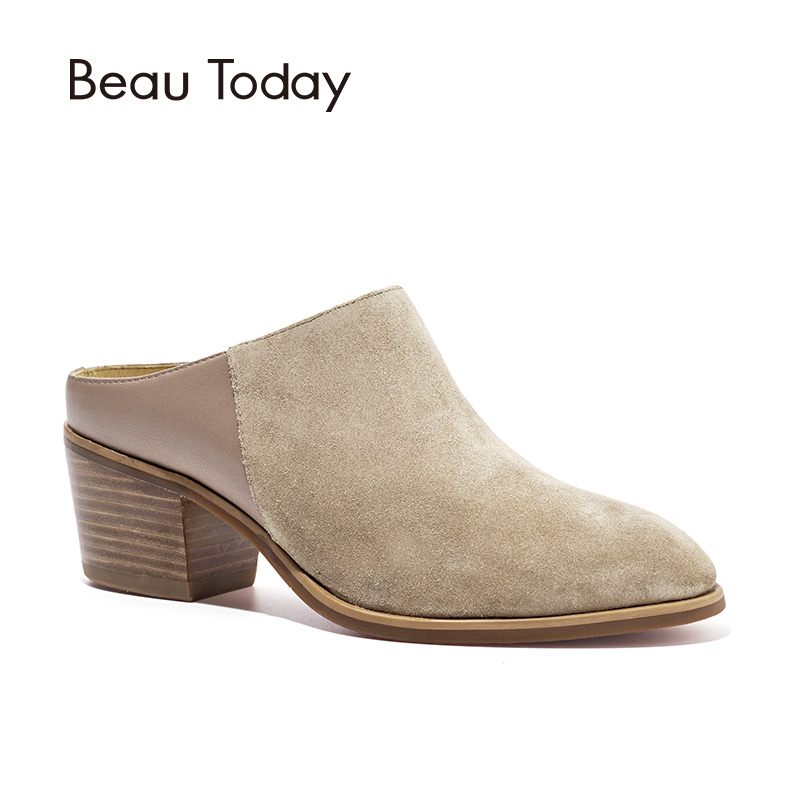 BeauToday Women Mule Shoes Brand Top Quality Suede Leather Spring Autumn High Heel Lady Pumps Handmade 35047