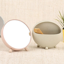 Wheat Straw Desktop Make Up Storage Mirror Cosmetic Makeup Mirrors Home Desktop Decoration Mirror Random Color(China)