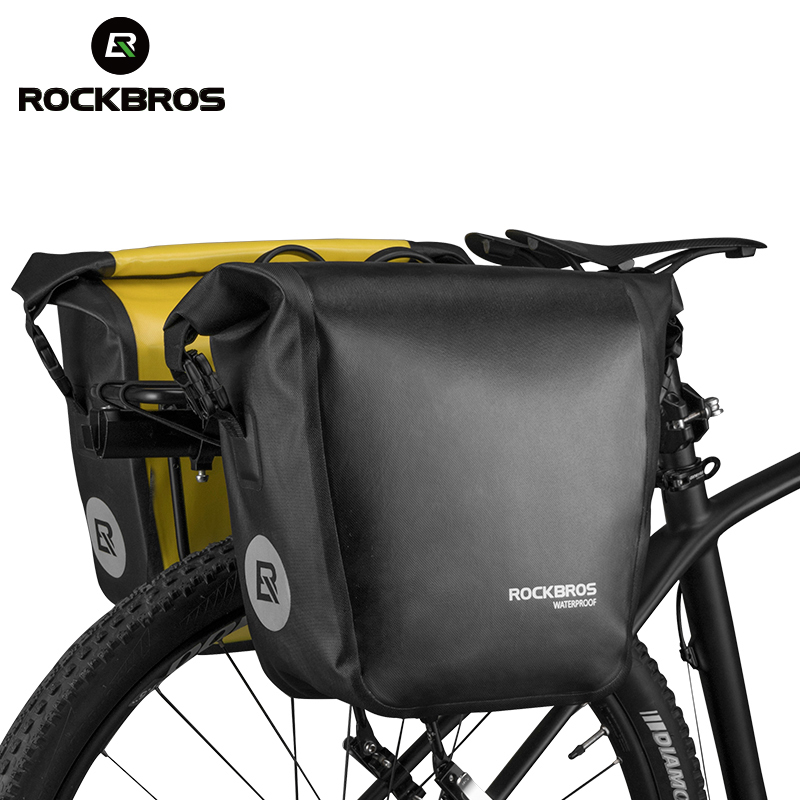 ROCKBROS Waterproof Bicycle Bag 18L Portable Bike Bag Pannier Rear Rack Tail Seat Trunk Pack Cycling MTB Bag Bike Accessories gub 3342 multifunction waterproof bicycle bike tail bag grey black