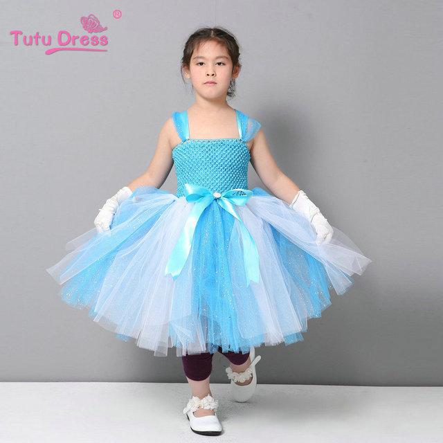Elsa Vestido Con Vestido de Ángel de Los Niños Baratos de La Boda Vestidos de Los Niños Vestido de Princesa