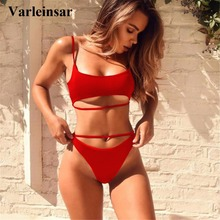 4 color Bather Sexy high cut leg Sport bikini set 2018 swimsuit female swimwear women bikini bathing suit swim wear  V603