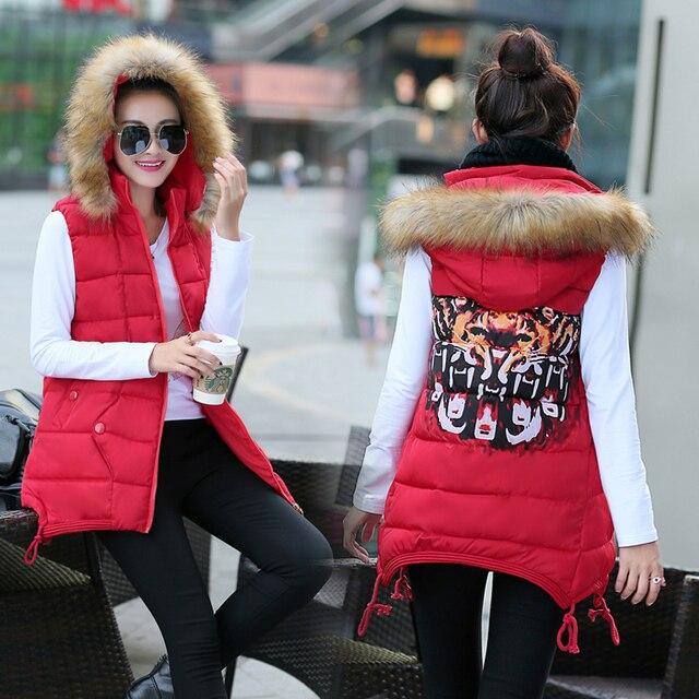 2017 winter fashion fur collar warm medium long slim plus size cotton women down vest coat waistcoat outerwear sleeveless jacket