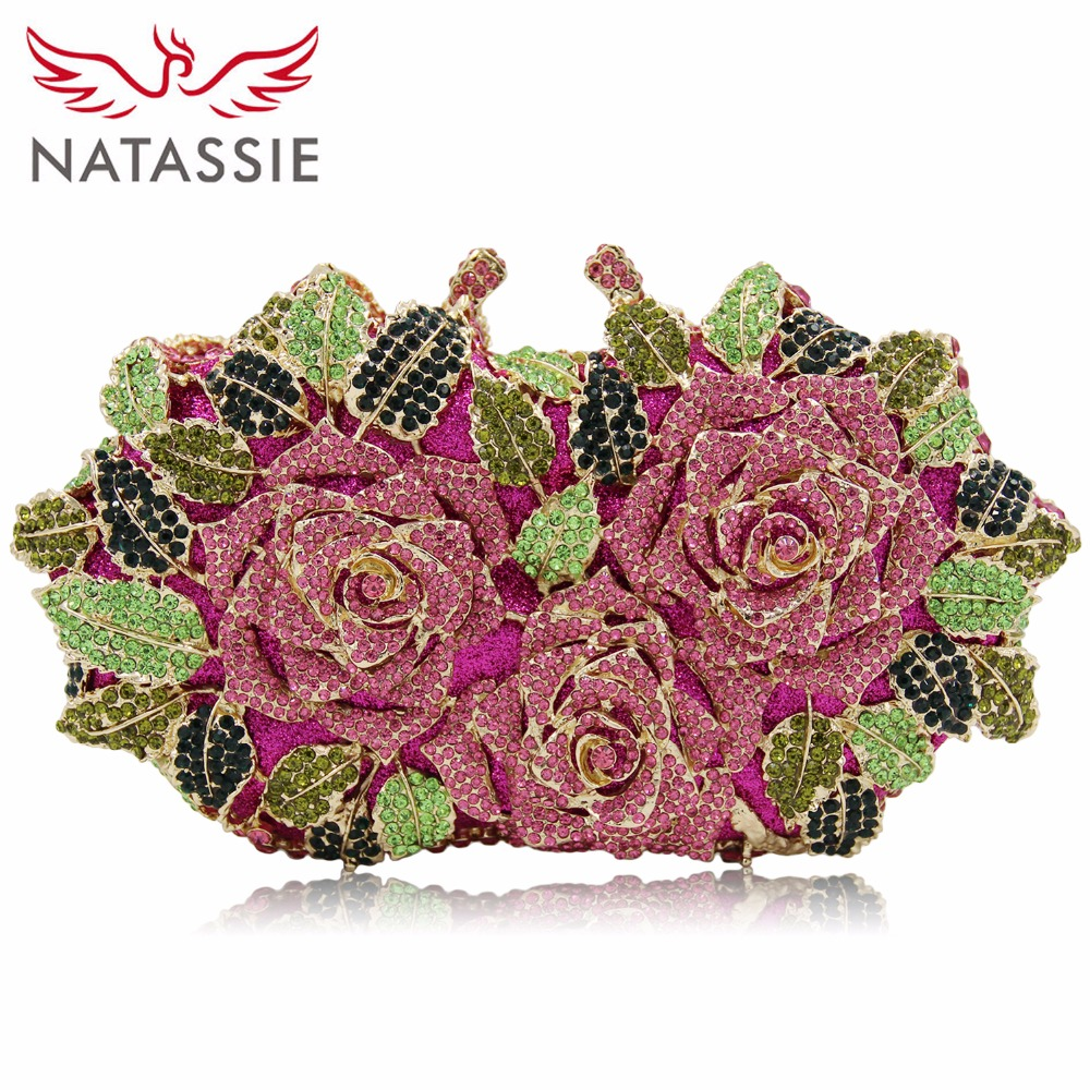 NATASSIE Women Flower Crystal Bags Ladies Gold Evening Bag Female Colorful Clutch Purses natassie new design luxury crystal clutch women evening bag gold red ladies wedding banquet party purses good quality