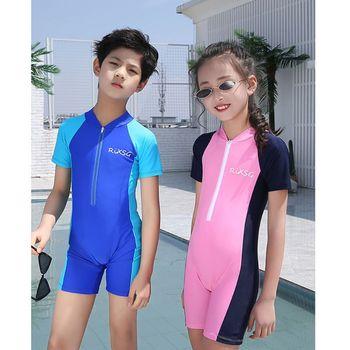 Nowe stroje kąpielowe dla dzieci kombinezon do nurkowania dla dzieci kombinezon dla dzieci dla chłopców dziewczęta utrzymuj ciepłe jednoczęściowe stroje kąpielowe z długimi rękawami ochrona UV tanie i dobre opinie THINKTHENDO Poliester spandex Unisex Pasuje prawda na wymiar weź swój normalny rozmiar Patchwork Children Swimsuit 7HH101995