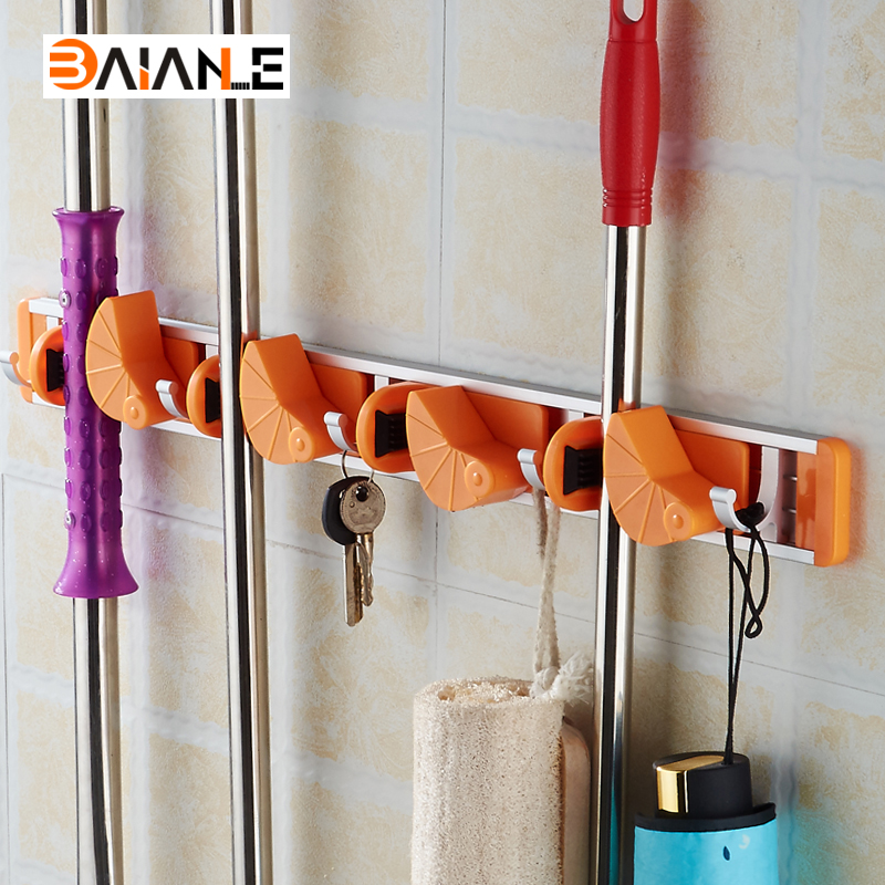 Wall mounted for the bathroom utensil broom mop holder organizer house cleaning gadgets in for Bathroom wall cleaning products